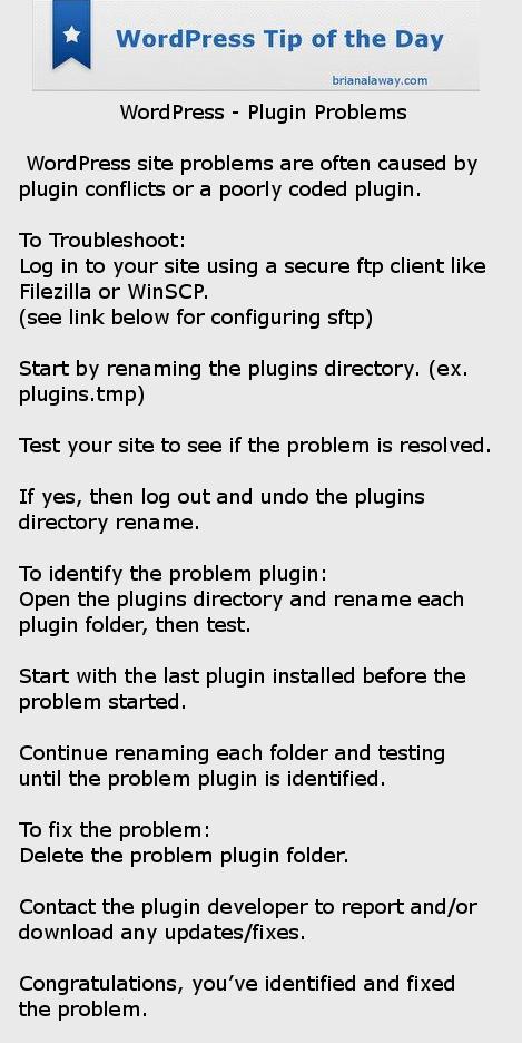 WordPress Tip - Plugin Problems