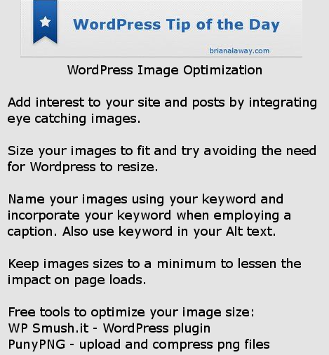WordPress Tip Image Optimization